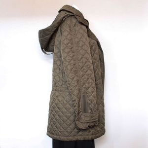 BURBERRY #20763 Olive Green Trey Long Quilted Coat